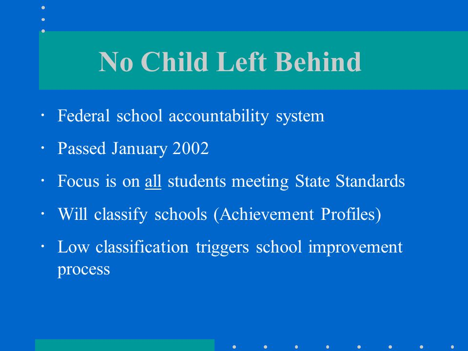 No Child Left Behind  Federal school accountability system  Passed January 2002  Focus is on all students meeting State Standards  Will classify schools (Achievement Profiles)  Low classification triggers school improvement process