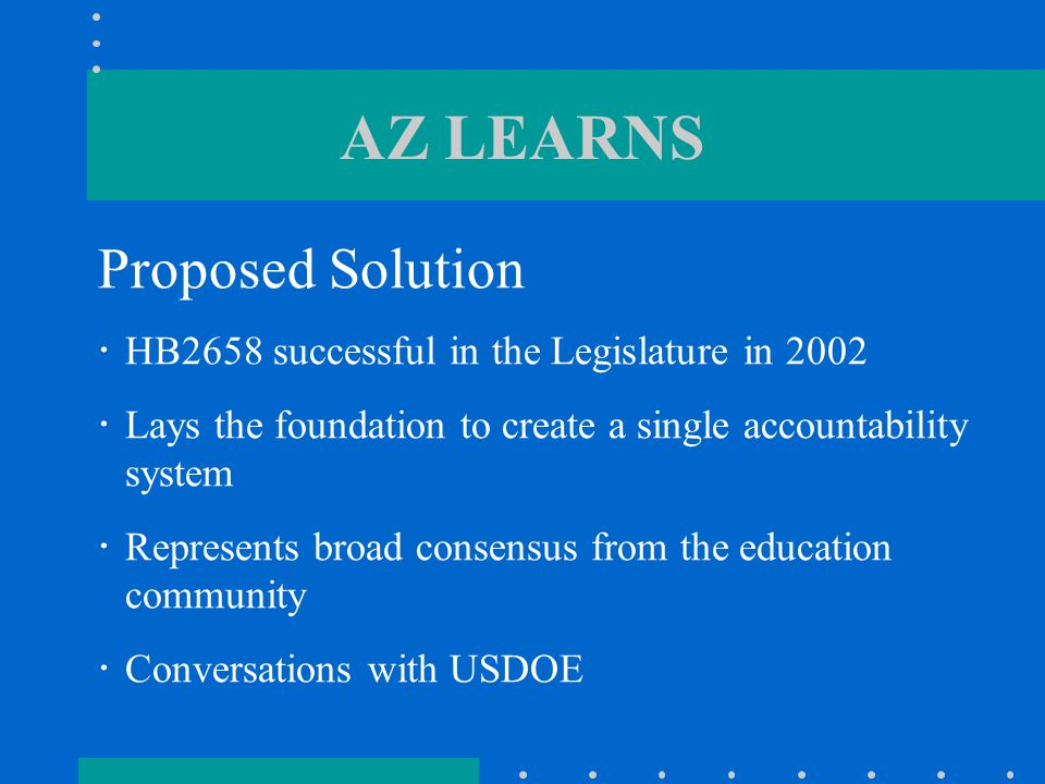 AZ LEARNS: HB2658  In addition, if school is Failing: -must provide written notification regarding Failing School to each residence in attendance area within 30 days of designation as Failing -must evaluate need for changes to existing improvement plan and consider recommendations of ADE solutions team within 60 days of designation as Failing -governing board must hold public hearing in each school designated as Failing (30 days after resubmitting improvement plan to ADE)