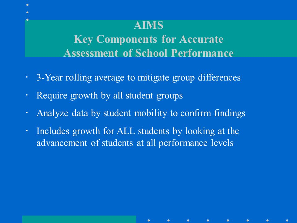 AIMS Key Components for Accurate Assessment of School Performance  3-Year rolling average to mitigate group differences  Require growth by all student groups  Analyze data by student mobility to confirm findings  Includes growth for ALL students by looking at the advancement of students at all performance levels
