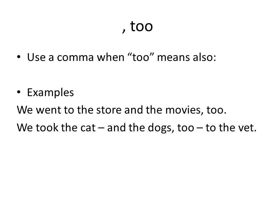 , too Use a comma when too means also: Examples We went to the store and the movies, too.