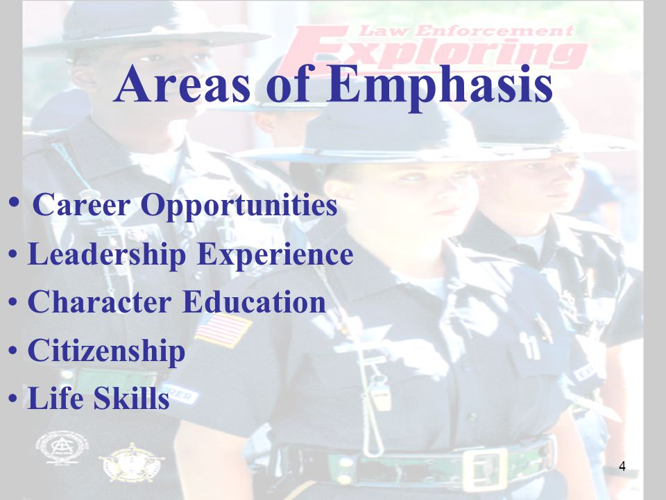 Areas of Emphasis Career Opportunities Leadership Experience Character Education Citizenship Life Skills 4