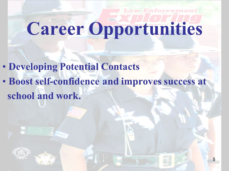 Career Opportunities Developing Potential Contacts Boost self-confidence and improves success at school and work.