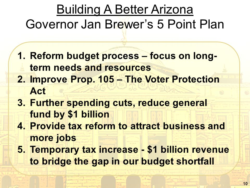 10 Building A Better Arizona Governor Jan Brewer's 5 Point Plan 1.Reform budget process – focus on long- term needs and resources 2.Improve Prop.
