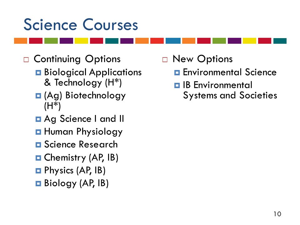 10 Science Courses  Continuing Options  Biological Applications & Technology (H*)  (Ag) Biotechnology (H*)  Ag Science I and II  Human Physiology  Science Research  Chemistry (AP, IB)  Physics (AP, IB)  Biology (AP, IB)  New Options  Environmental Science  IB Environmental Systems and Societies