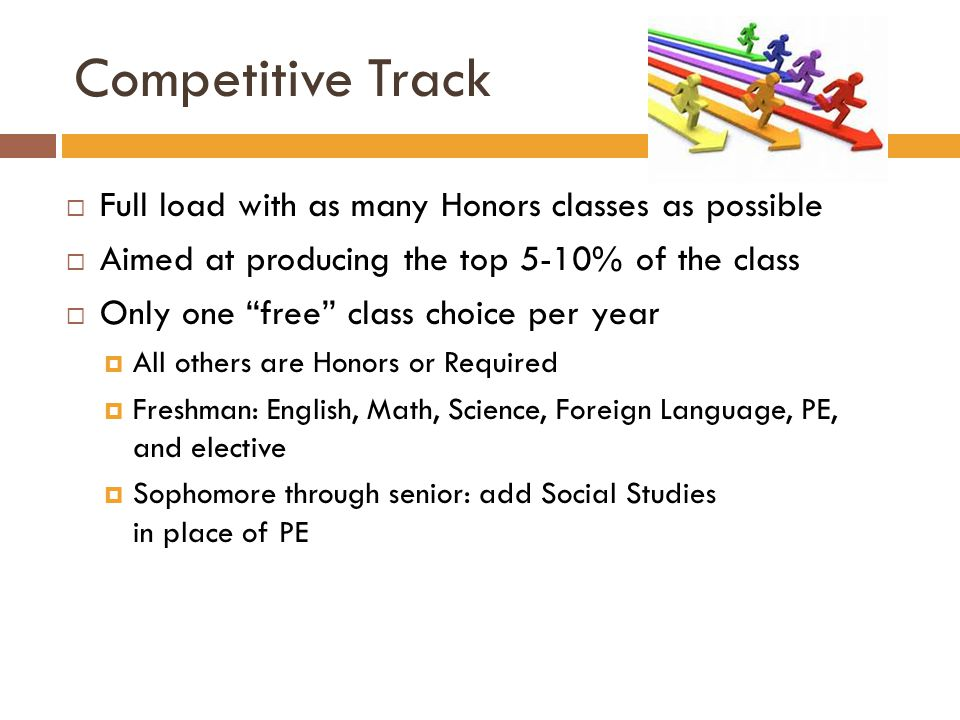 "Competitive Track  Full load with as many Honors classes as possible  Aimed at producing the top 5-10% of the class  Only one ""free"" class choice p"