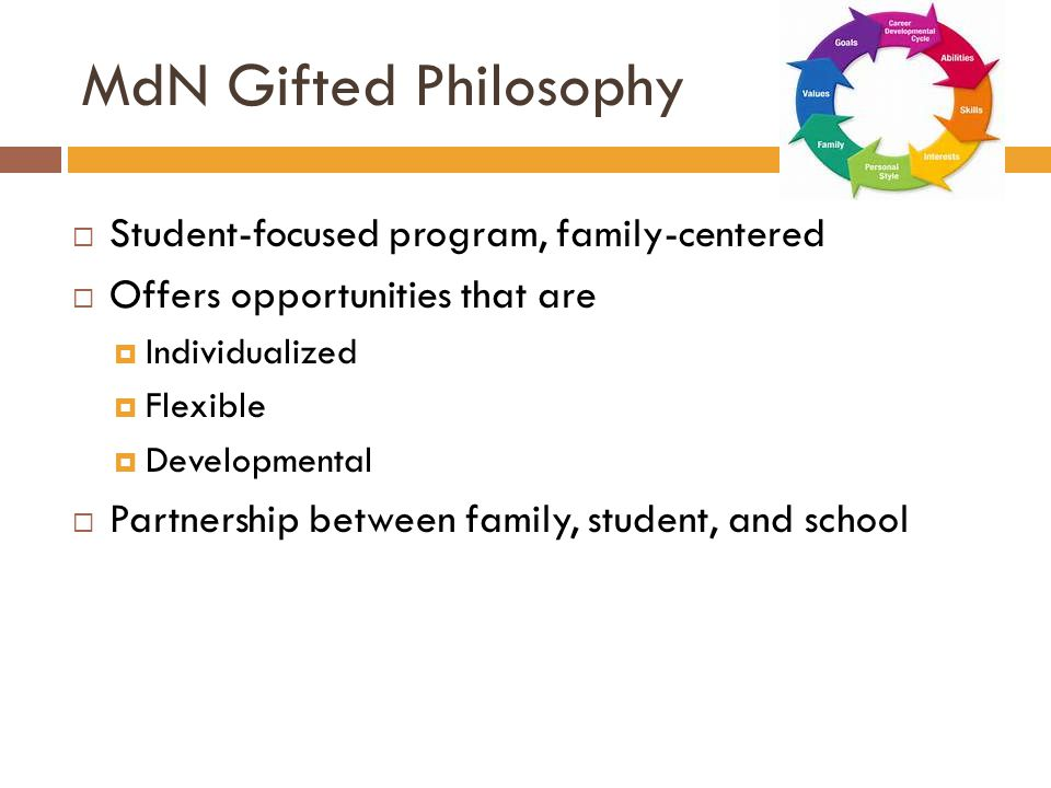MdN Gifted Philosophy  Student-focused program, family-centered  Offers opportunities that are  Individualized  Flexible  Developmental  Partnership between family, student, and school