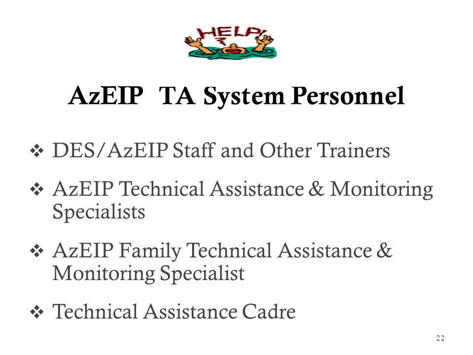 AzEIP TA System Personnel  DES/AzEIP Staff and Other Trainers  AzEIP Technical Assistance & Monitoring Specialists  AzEIP Family Technical Assistance & Monitoring Specialist  Technical Assistance Cadre 22