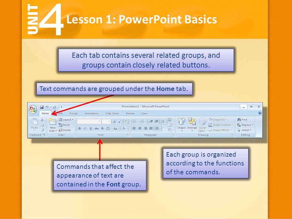 Lesson 1: PowerPoint Basics Each tab contains several related groups, and groups contain closely related buttons. Each group is organized according to