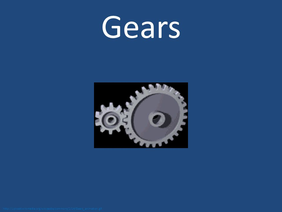 Gears http://upload.wikimedia.org/wikipedia/commons/1/14/Gears_animation.gif