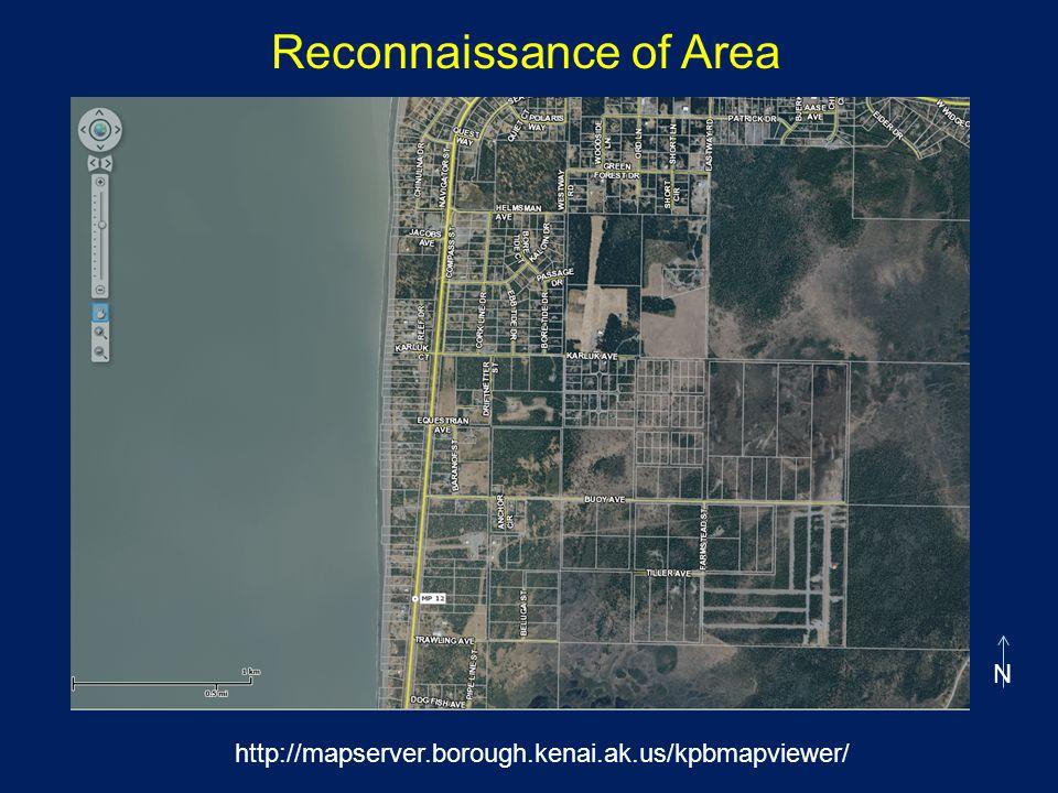 Reconnaissance of Area N http://mapserver.borough.kenai.ak.us/kpbmapviewer/