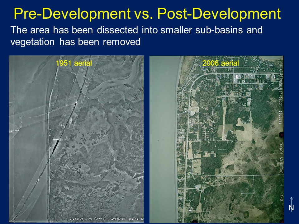 The area has been dissected into smaller sub-basins and vegetation has been removed Pre-Development vs.