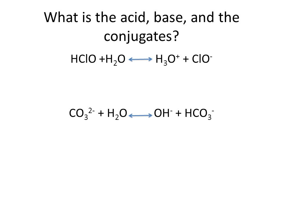 What is the acid, base, and the conjugates.