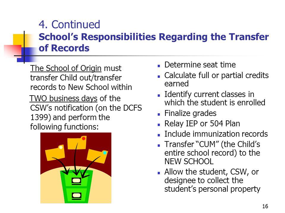 16 4. Continued School's Responsibilities Regarding the Transfer of Records The School of Origin must transfer Child out/transfer records to New Schoo