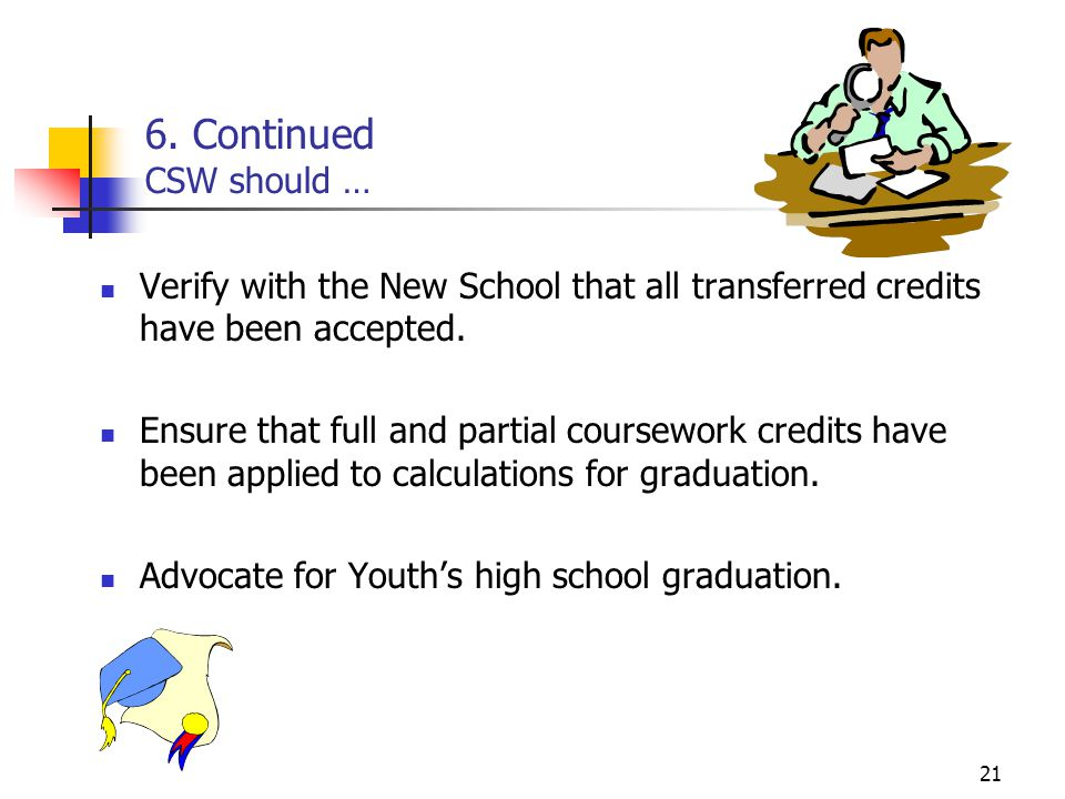 21 6. Continued CSW should … Verify with the New School that all transferred credits have been accepted. Ensure that full and partial coursework credi