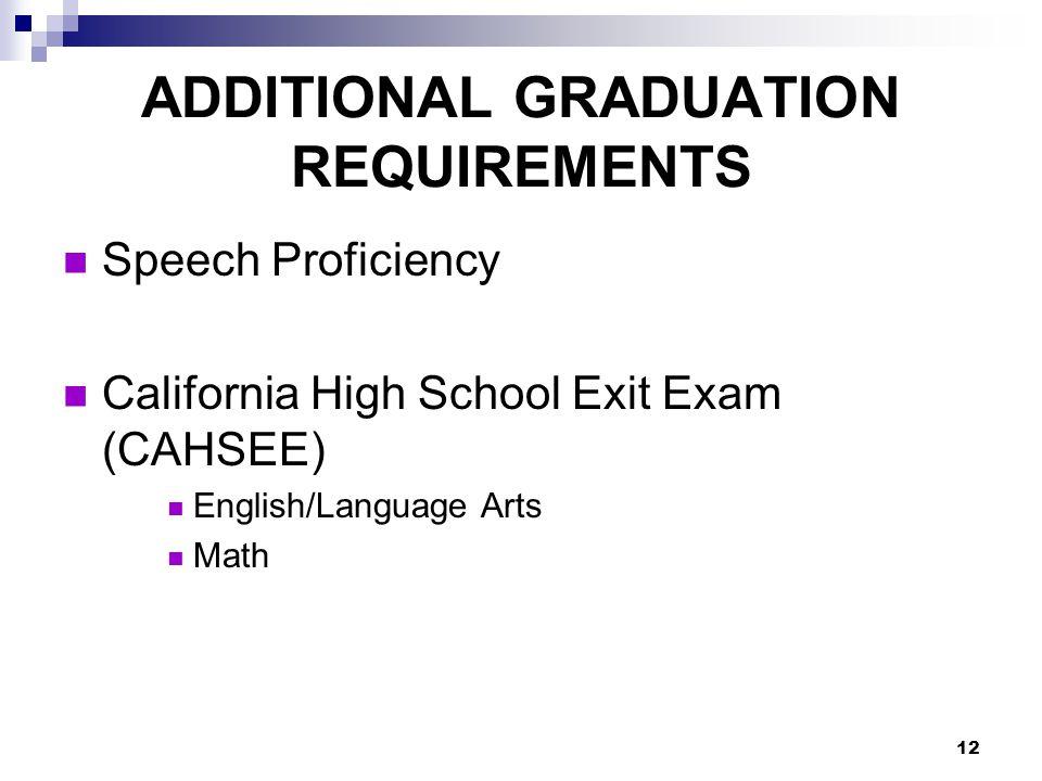12 Speech Proficiency California High School Exit Exam (CAHSEE) English/Language Arts Math ADDITIONAL GRADUATION REQUIREMENTS