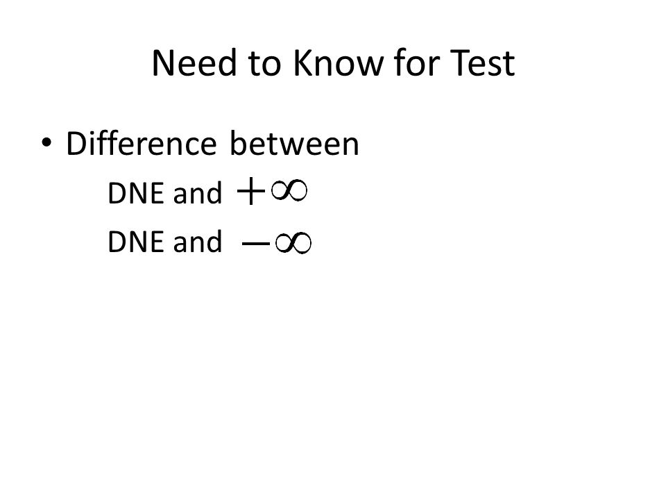 Difference between DNE and Need to Know for Test