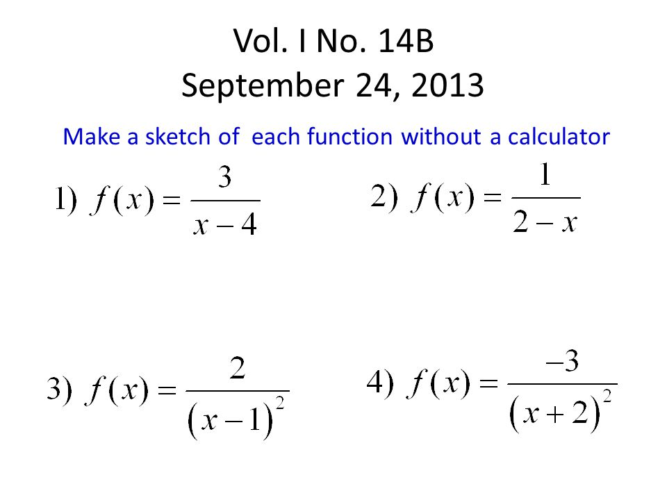 Vol. I No. 14B September 24, 2013 Make a sketch of each function without a calculator
