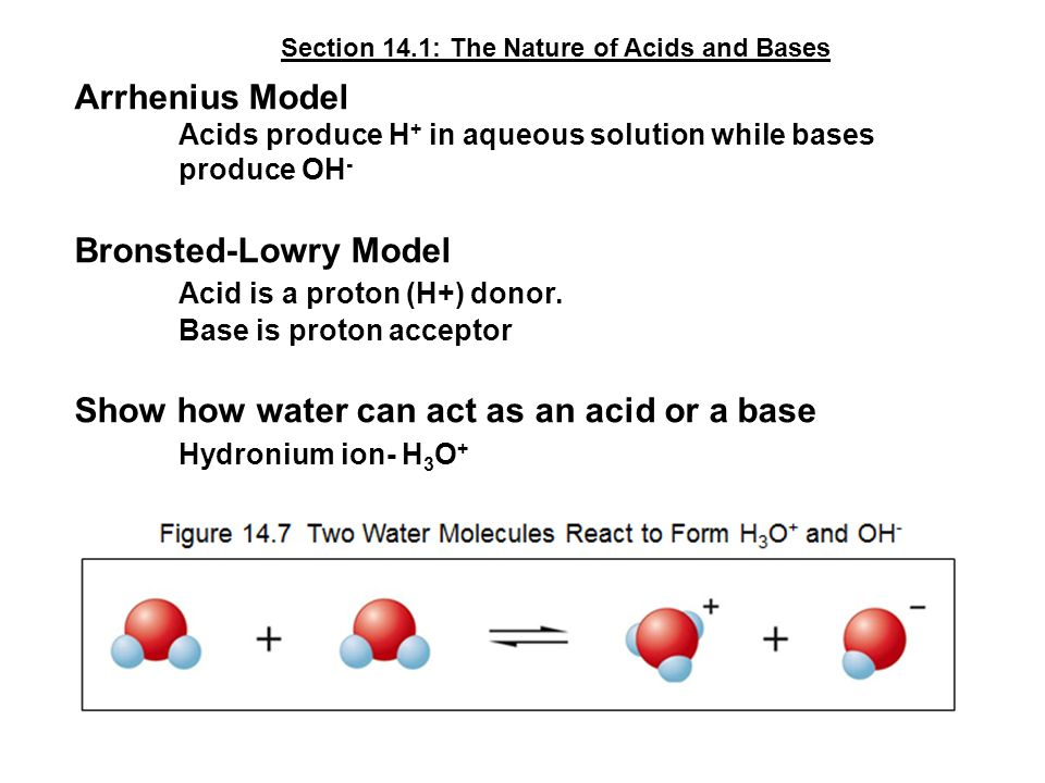 Arrhenius Model Acids produce H + in aqueous solution while bases produce OH - Bronsted-Lowry Model Acid is a proton (H+) donor.