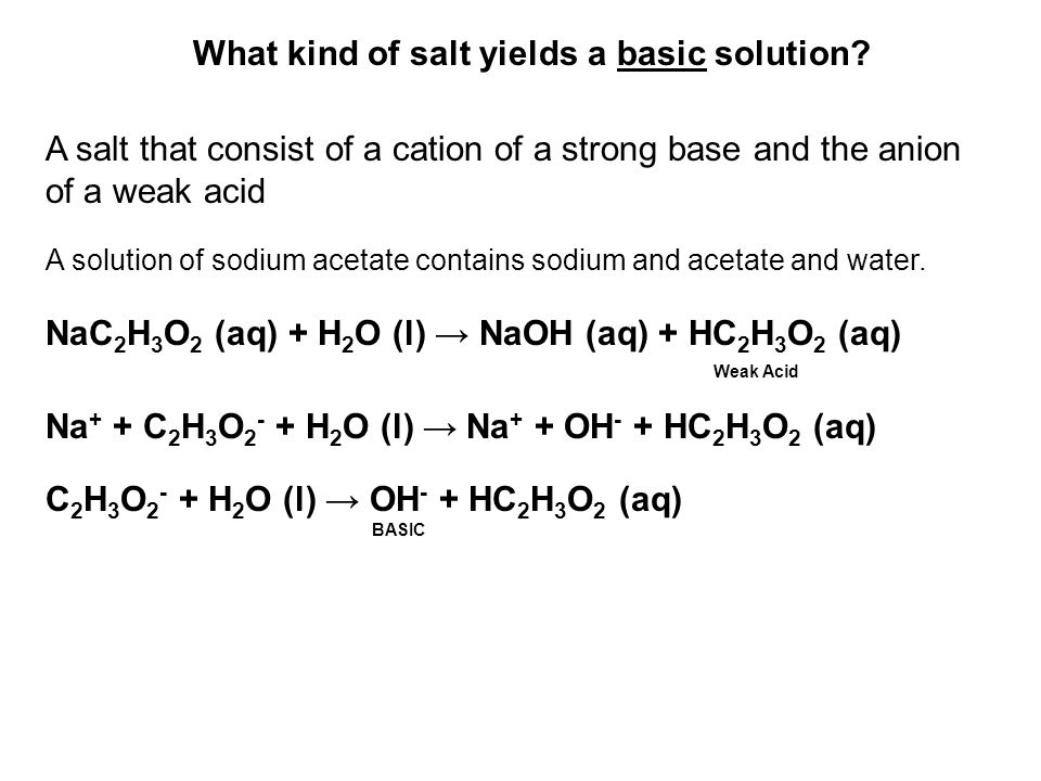 A salt that consist of a cation of a strong base and the anion of a weak acid A solution of sodium acetate contains sodium and acetate and water. NaC