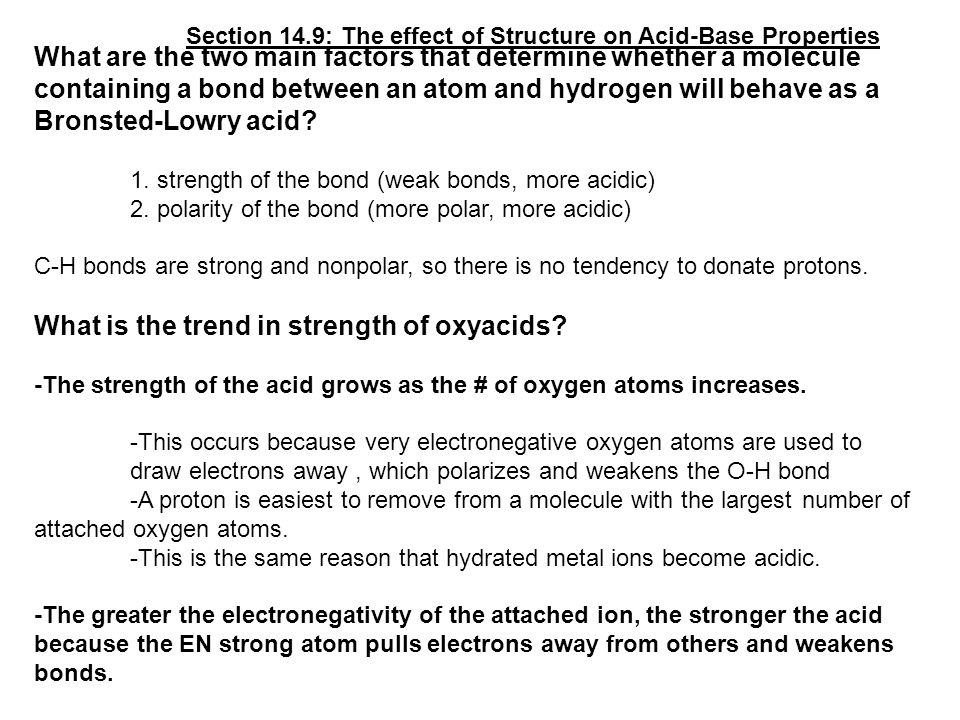 What are the two main factors that determine whether a molecule containing a bond between an atom and hydrogen will behave as a Bronsted-Lowry acid.