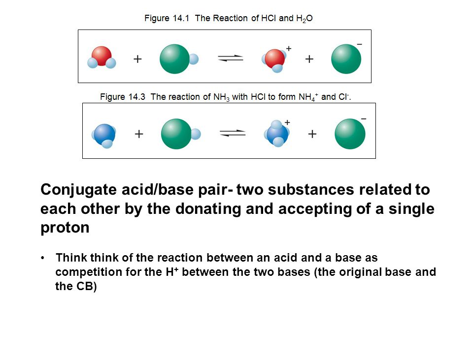 Conjugate acid/base pair- two substances related to each other by the donating and accepting of a single proton Think think of the reaction between an