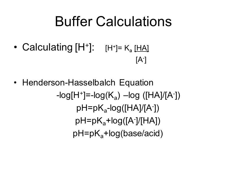 Buffer Calculations Calculating [H + ]: [H + ]= K a [HA] [A - ] Henderson-Hasselbalch Equation -log[H + ]=-log(K a ) –log ([HA]/[A - ]) pH=pK a -log([HA]/[A - ]) pH=pK a +log([A - ]/[HA]) pH=pK a +log(base/acid)