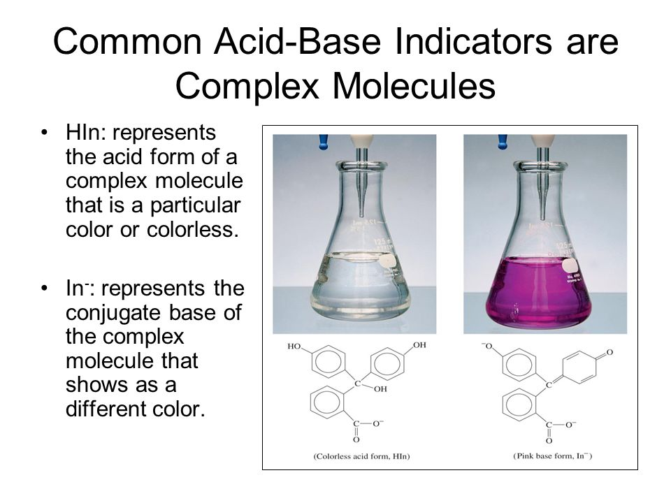 Common Acid-Base Indicators are Complex Molecules HIn: represents the acid form of a complex molecule that is a particular color or colorless. In - :