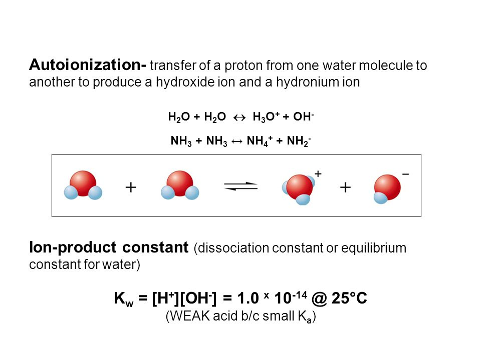 Autoionization- transfer of a proton from one water molecule to another to produce a hydroxide ion and a hydronium ion H 2 O + H 2 O  H 3 O + + OH - NH 3 + NH 3 ↔ NH 4 + + NH 2 - Ion-product constant (dissociation constant or equilibrium constant for water) K w = [H + ][OH - ] = 1.0 x 10 -14 @ 25°C (WEAK acid b/c small K a )