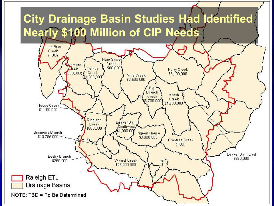 City Drainage Basin Studies Had Identified Nearly $100 Million of CIP Needs