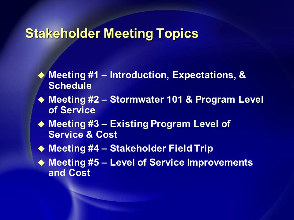 Stakeholder Meeting Topics u Meeting #1 – Introduction, Expectations, & Schedule u Meeting #2 – Stormwater 101 & Program Level of Service u Meeting #3 – Existing Program Level of Service & Cost u Meeting #4 – Stakeholder Field Trip u Meeting #5 – Level of Service Improvements and Cost
