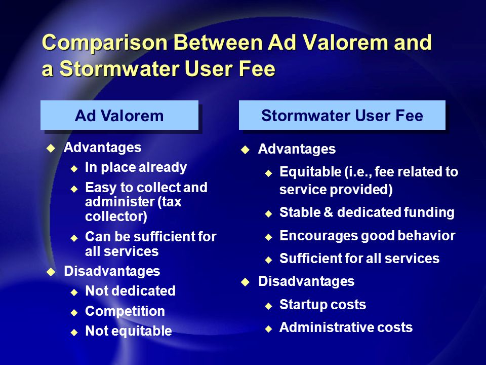 Comparison Between Ad Valorem and a Stormwater User Fee u Advantages u In place already u Easy to collect and administer (tax collector) u Can be sufficient for all services u Disadvantages u Not dedicated u Competition u Not equitable u Advantages u Equitable (i.e., fee related to service provided) u Stable & dedicated funding u Encourages good behavior u Sufficient for all services u Disadvantages u Startup costs u Administrative costs Ad Valorem Stormwater User Fee