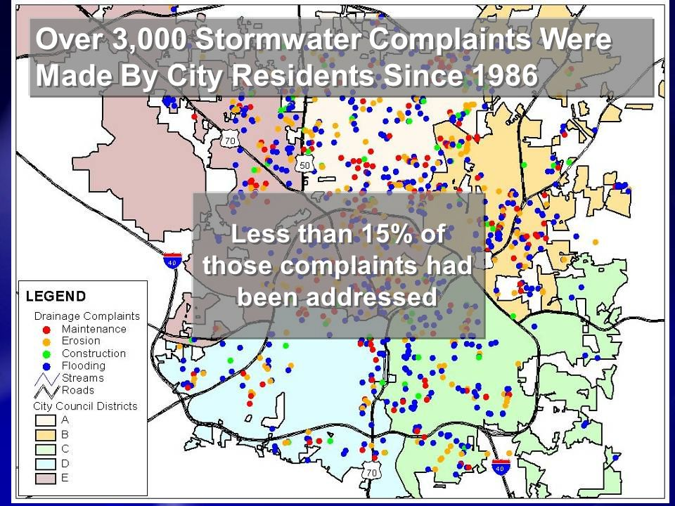 Over 3,000 Stormwater Complaints Were Made By City Residents Since 1986 Less than 15% of those complaints had been addressed