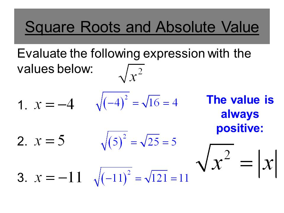 Square Roots and Absolute Value Evaluate the following expression with the values below: 1.