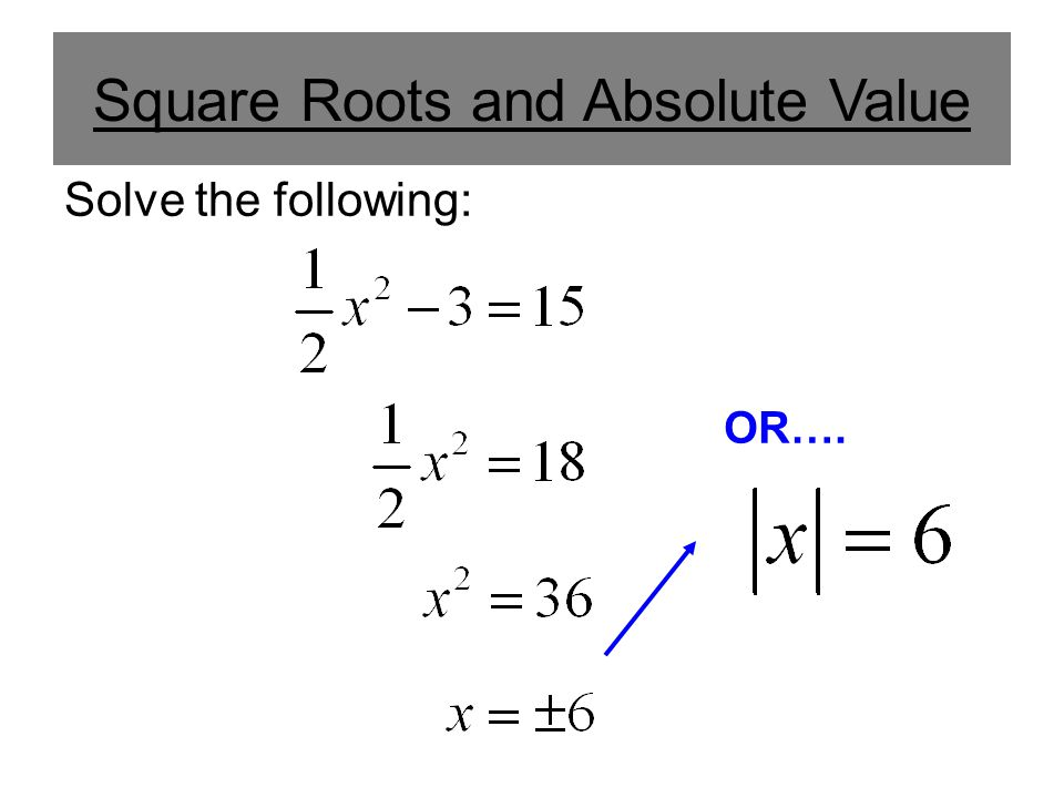 Square Roots and Absolute Value Solve the following: OR….