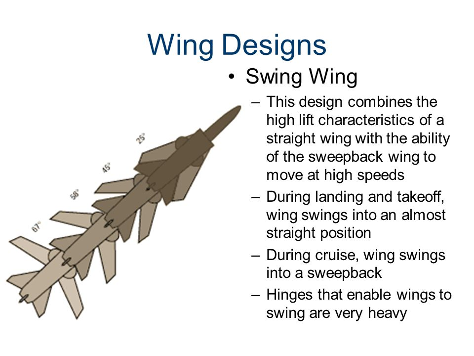 Wing Designs Swing Wing –This design combines the high lift characteristics of a straight wing with the ability of the sweepback wing to move at high