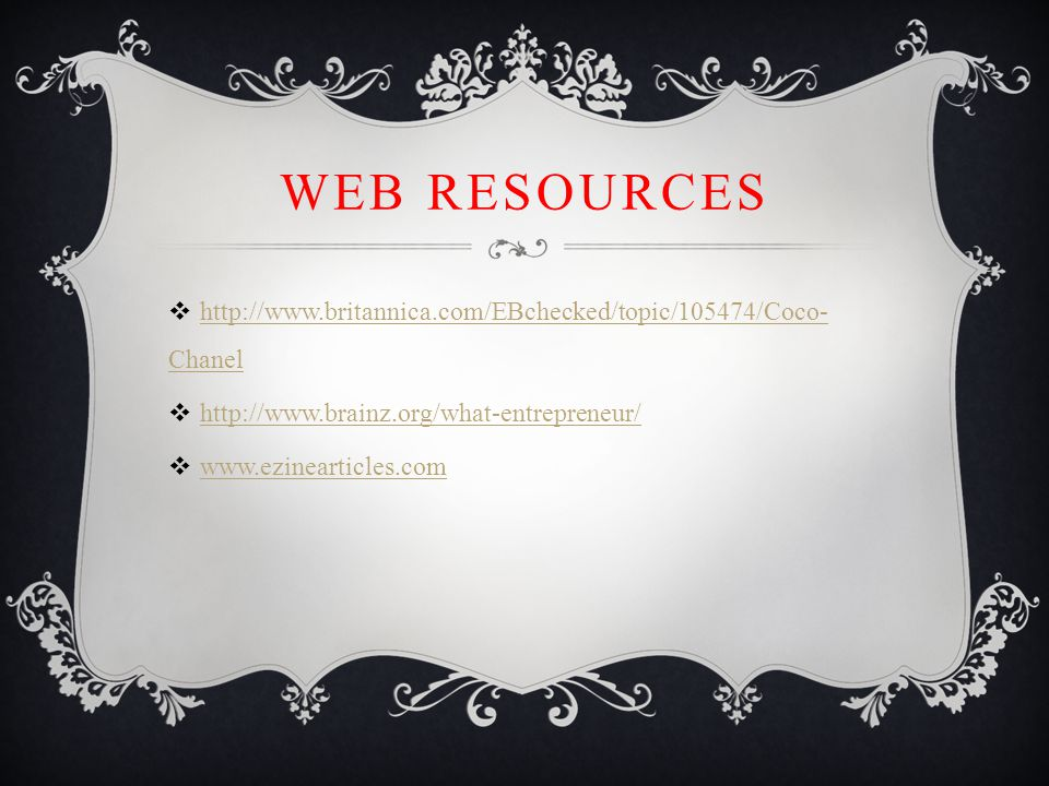 WEB RESOURCES    Chanel   Chanel      
