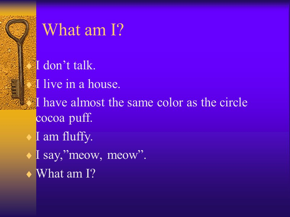 What am I.  I don't talk.  I live in a house.