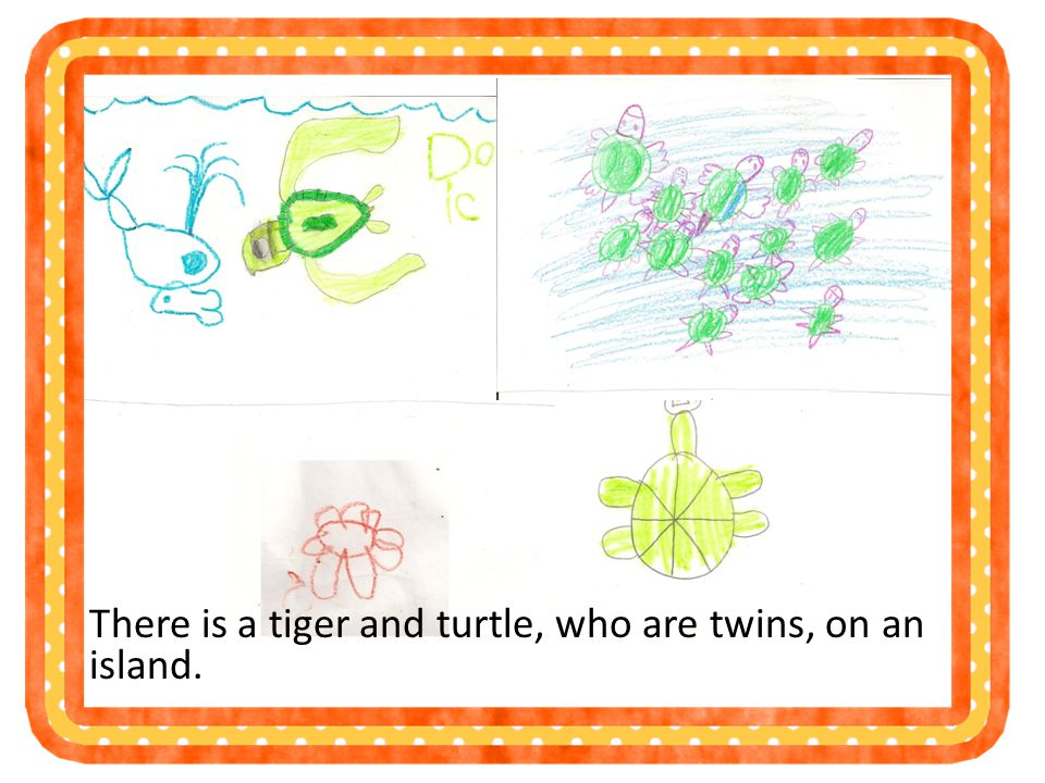 There is a tiger and turtle, who are twins, on an island.