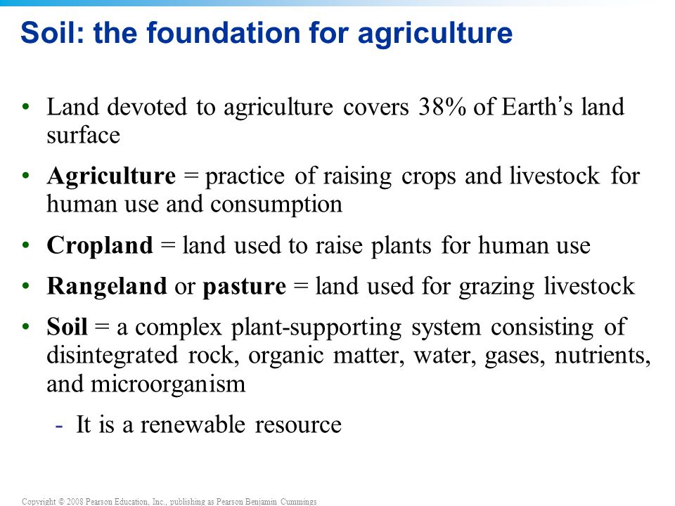 Copyright © 2008 Pearson Education, Inc., publishing as Pearson Benjamin Cummings QUESTION: Review Which horizon is the most valuable for agriculture.