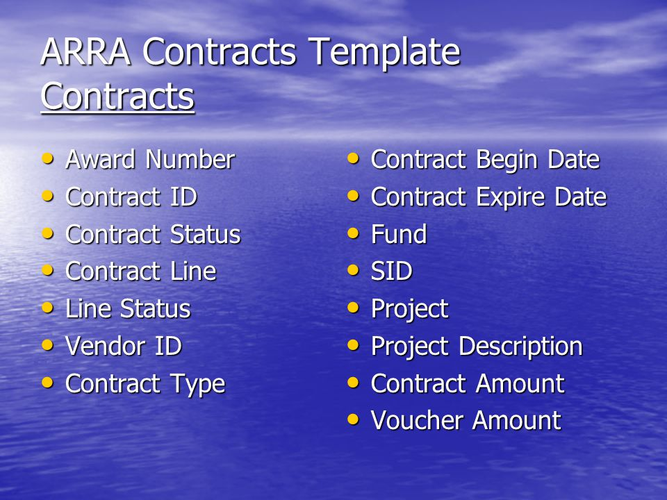 ARRA Contracts Template Contracts Award Number Award Number Contract ID Contract ID Contract Status Contract Status Contract Line Contract Line Line Status Line Status Vendor ID Vendor ID Contract Type Contract Type Contract Begin Date Contract Begin Date Contract Expire Date Contract Expire Date Fund Fund SID SID Project Project Project Description Project Description Contract Amount Contract Amount Voucher Amount Voucher Amount
