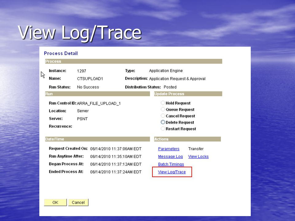 View Log/Trace