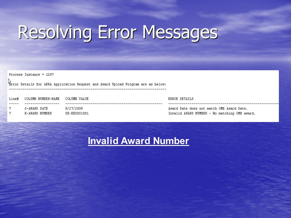 Resolving Error Messages Invalid Award Number