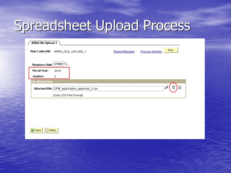 Spreadsheet Upload Process
