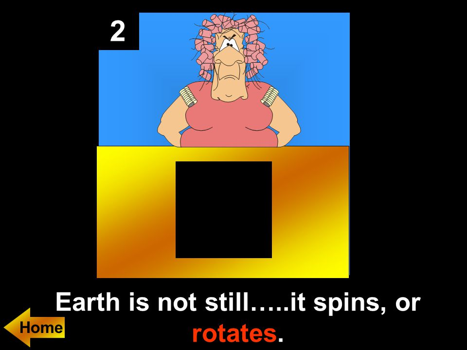 2 Earth is not still…..it spins, or rotates.