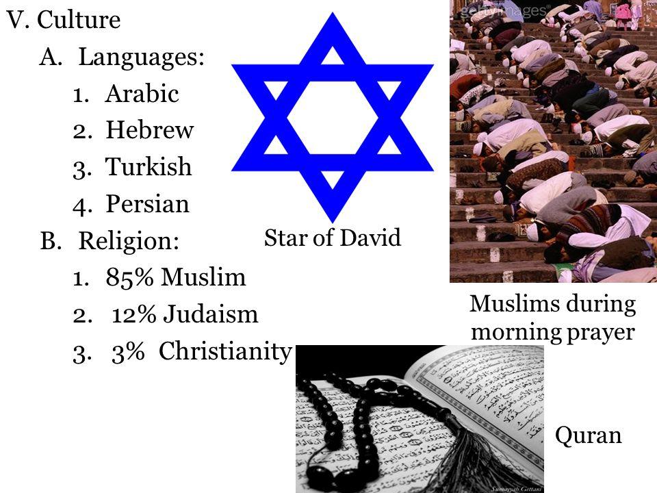 V. Culture A.Languages: 1.Arabic 2.Hebrew 3.Turkish 4.Persian B.Religion: 1.85% Muslim 2. 12% Judaism 3. 3% Christianity Star of David Quran Muslims d