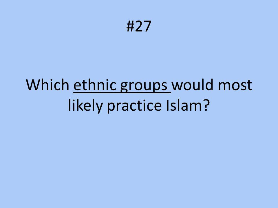 #27 Which ethnic groups would most likely practice Islam?