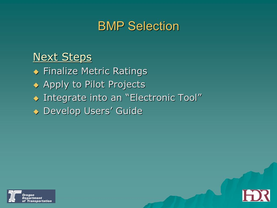 "BMP Selection Next Steps  Finalize Metric Ratings  Apply to Pilot Projects  Integrate into an ""Electronic Tool""  Develop Users' Guide"