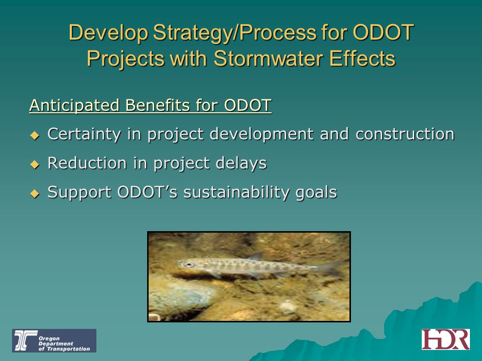 Develop Strategy/Process for ODOT Projects with Stormwater Effects Anticipated Benefits for ODOT  Certainty in project development and construction 