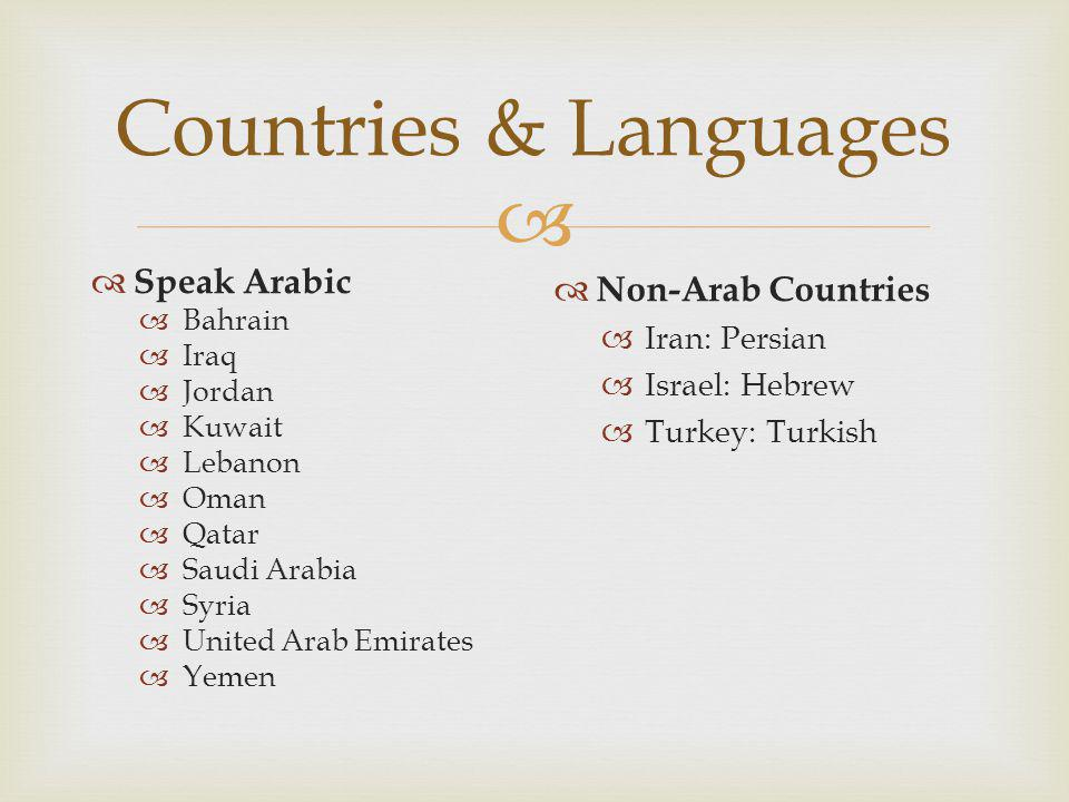  Countries & Languages  Speak Arabic  Bahrain  Iraq  Jordan  Kuwait  Lebanon  Oman  Qatar  Saudi Arabia  Syria  United Arab Emirates  Yem