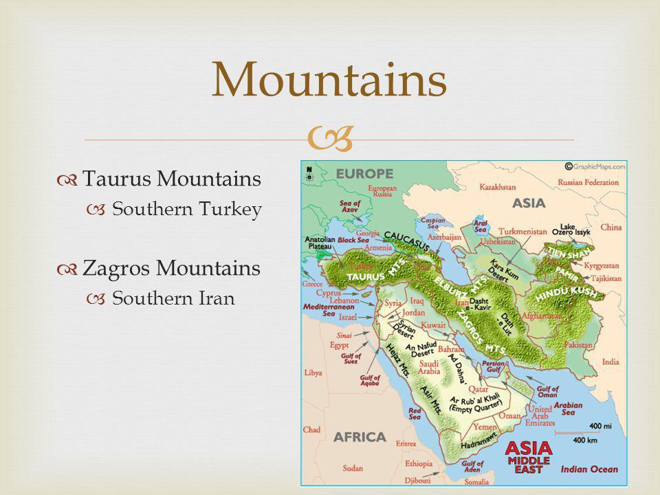  Water  Mediterranean Sea  Red Sea  Arabian Sea  Persian Gulf  Arabian Gulf  Strait of Hormuz  Bosporous Strait  Dardanelles  Jordan River  Tigris & Euphrates Rivers